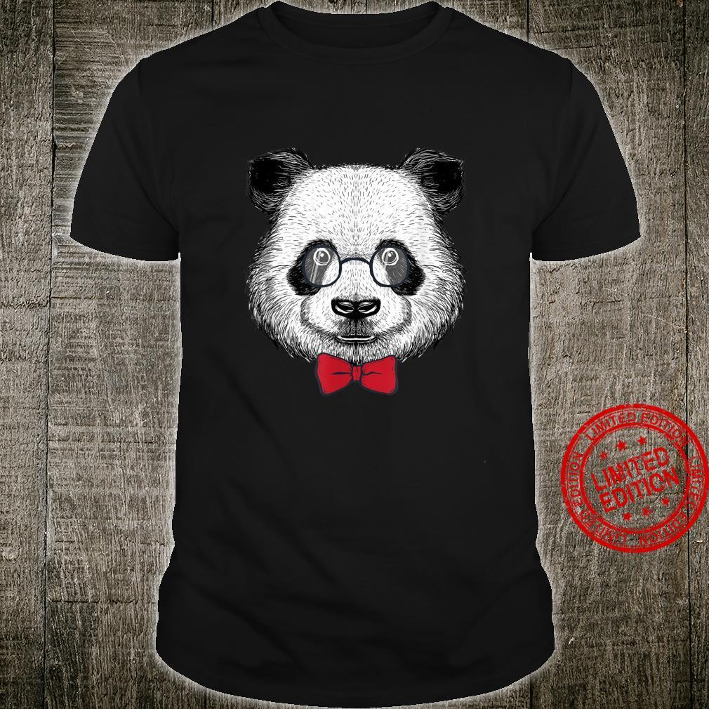 Herren Panda Bär Pandabär Intellektuell Brille Professor Lehrer Shirt