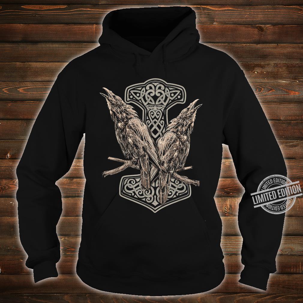 NORDISCHE MYTHOLOGIE ODINS RABEN HUGIN UND MUNIN THOR HAMMER Shirt hoodie