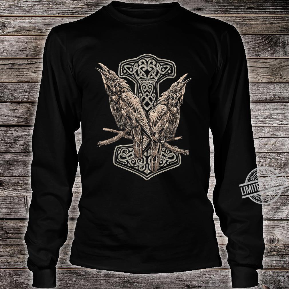 NORDISCHE MYTHOLOGIE ODINS RABEN HUGIN UND MUNIN THOR HAMMER Shirt long sleeved