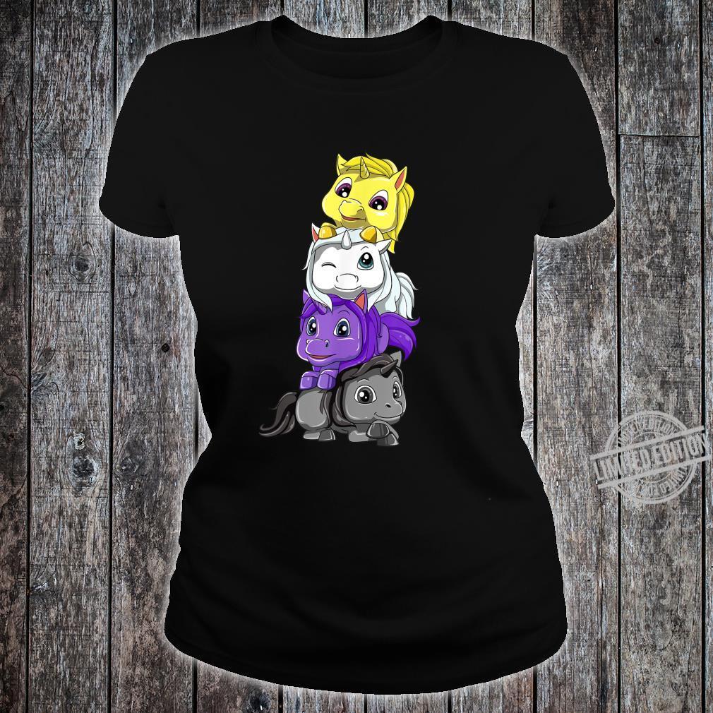 Nichtbinär Einhörner Enby und LGBTQ Unicorn Geschenk Shirt ladies tee
